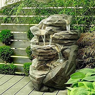 Zen Light SCFRG58 Grande Fontaine de Jardin Niagara, Couleur Pierre