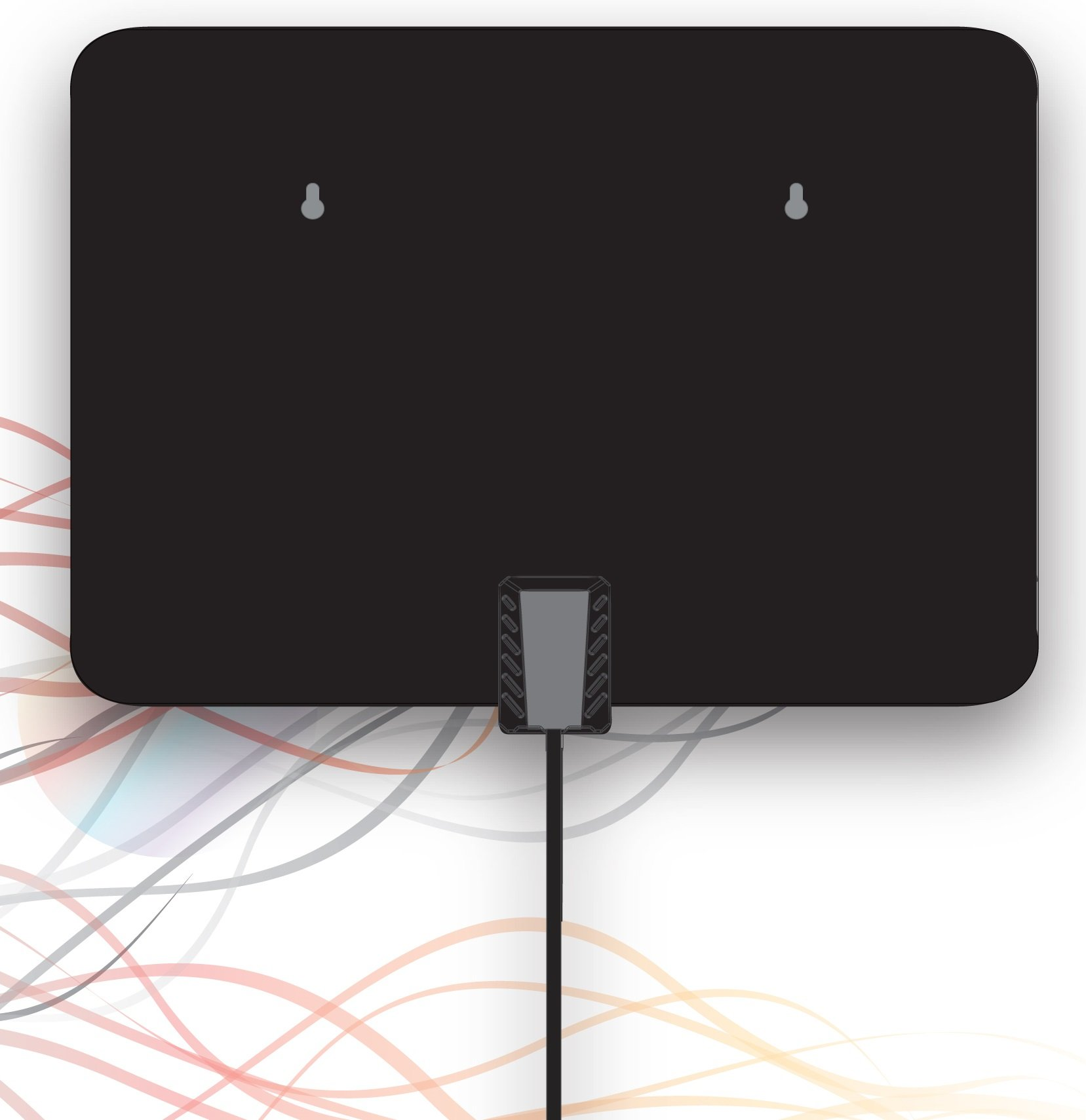 NEW Flat Indoor HDTV Antenna 25 Miles Range - Super Thin HDTV Indoor Antenna 5500A - 6 ft Coax Cable, Power By ProHT