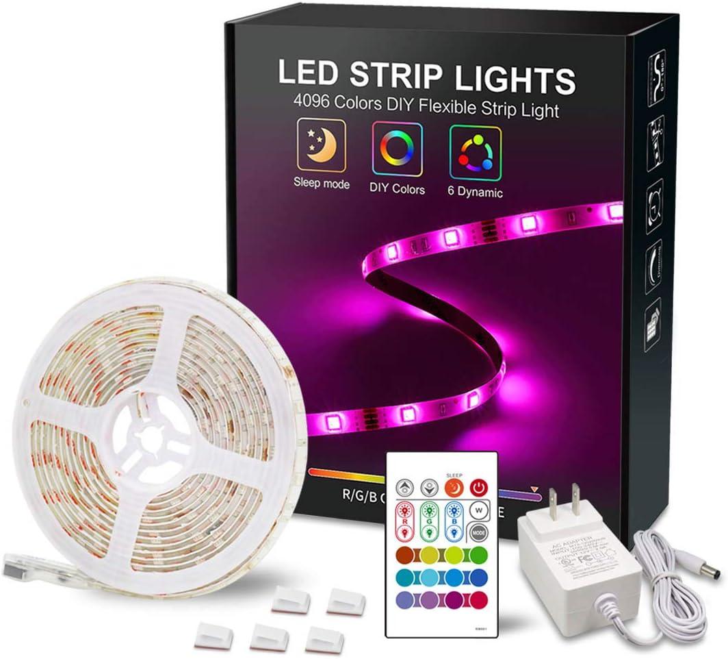 RGB LED Strip Light 12V Plug in LED Light Strip 16.4ft Waterproof 5050 LED Tape Lights 4096 DIY Colors Changing Strip Lights with Remote LED Rope Lights for Bedroom Color Changing Light for Party