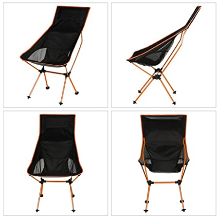 KABOER Camping Chair, Outdoor Folding Portable Chair for Backpacking, Fishing, Hiking, Picnic, Travel, Beach and Lawn, Built-in Pillow and Carry Bag