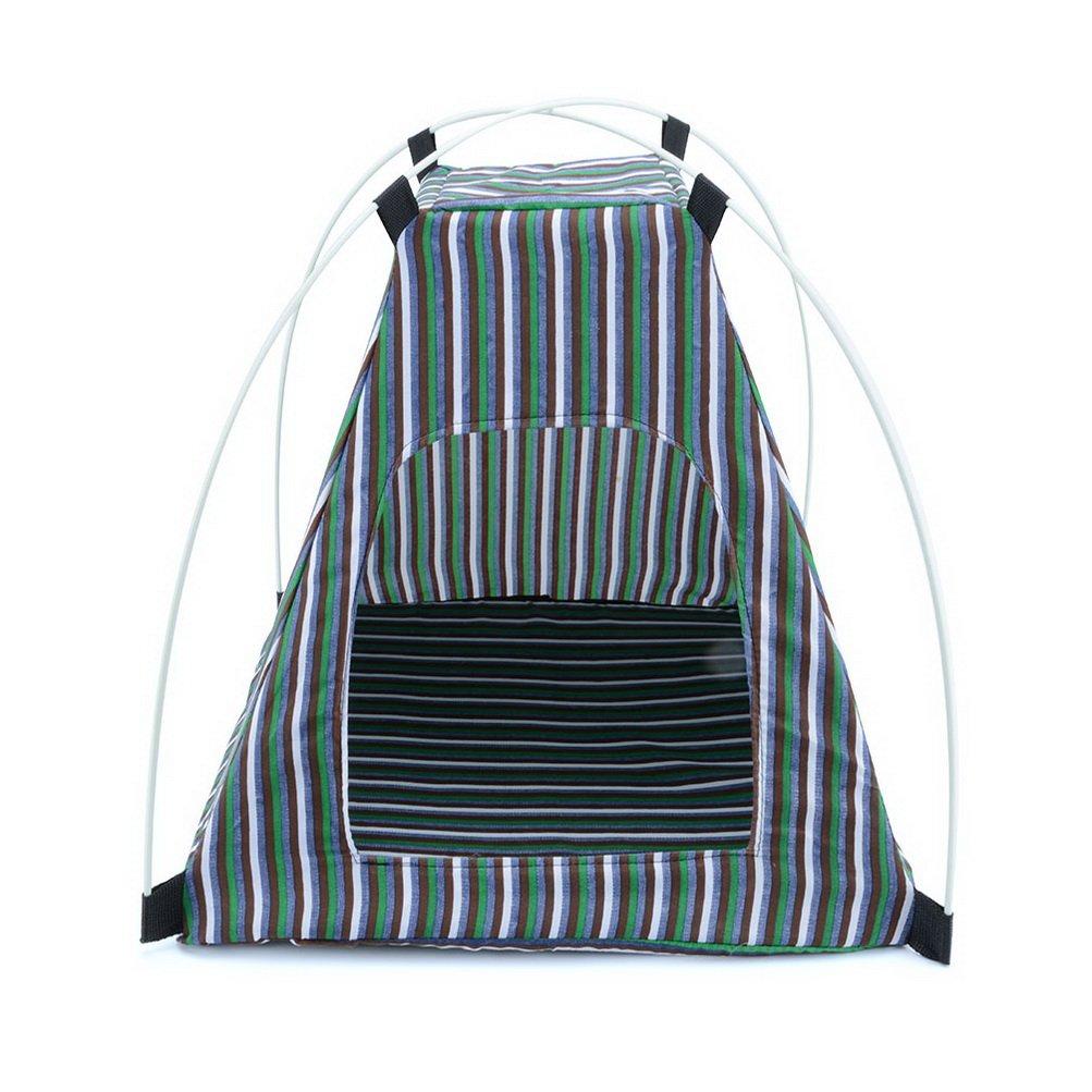 Zunea Gato Tienda Perro casa Rayas Pop Up portátil Plegable Sun Shade cojín Perro casa Fuera de Playa Camping Interior al Aire Libre Picnic Viaje: ...