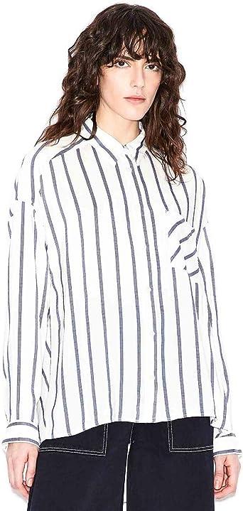 Armani Exchange Camisa Blanca Rayas Azules para Mujer: Amazon.es: Ropa y accesorios