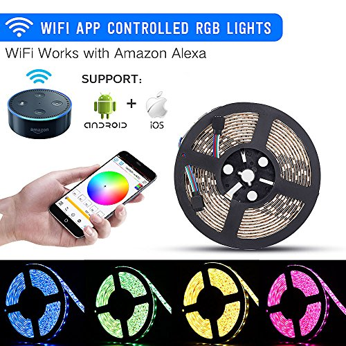WiFi LED Lights Strip Kit, Sanwo Wireless Remote Controller, 12V Power Adapter, 16.4ft 600LEDS 5050 RGB Waterproof IP65 Strip Light, Rope lights Fixing Clips, Work with Amazon Alexa,IOS and Android