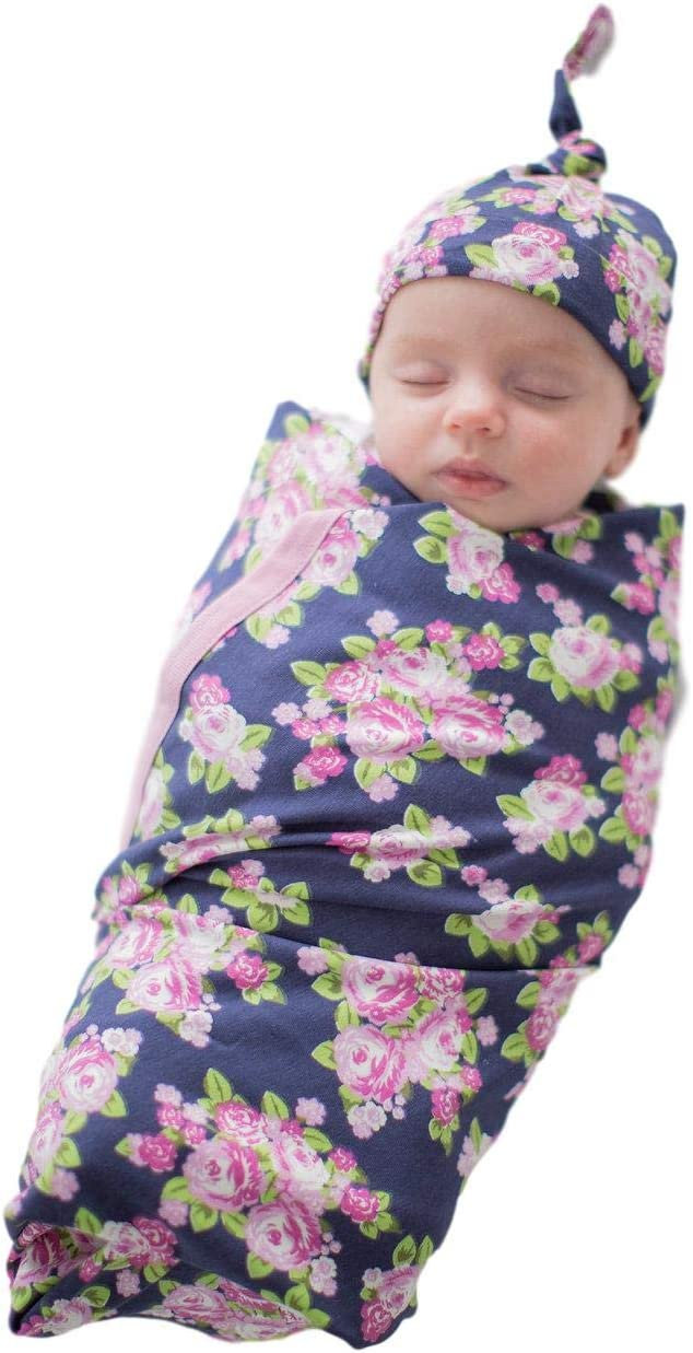 Baby Be Mine Newborn Baby Swaddle Blanket with Matchin Knotted Hat, (Eve)