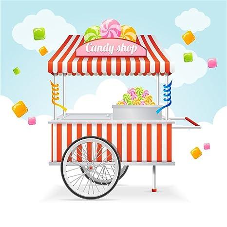 Amazoncom Ofila Candy Shop Backdrop 5x5ft Cady Cart Photography