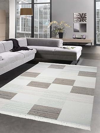 Moderner Teppich Wollteppich Wohnzimmer Teppich Karo beige creme ...