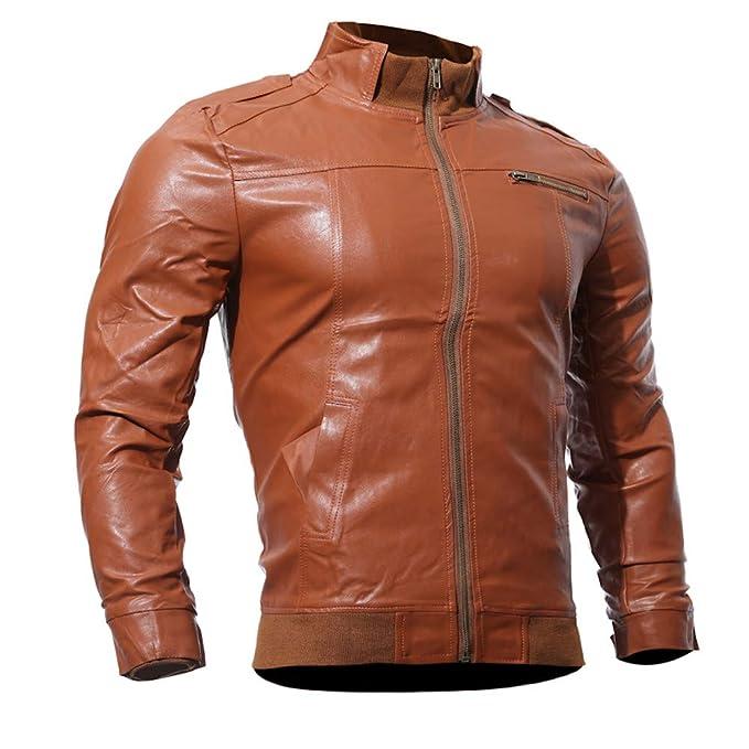 Logobeing Chaqueta de Cuero Hombre Motocicleta Informal de ...