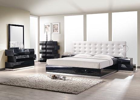 j m furniture milan black lacquer with white leatherette headboard bedroom set king sizeamazon com