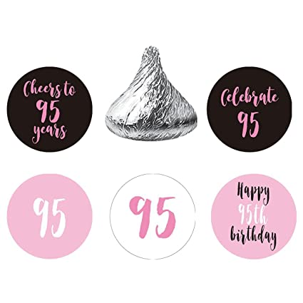 MAGJUCHE Pink 95th Birthday Party Favor Stickers Round Candy Labels Fit Hersheys Kisses 200