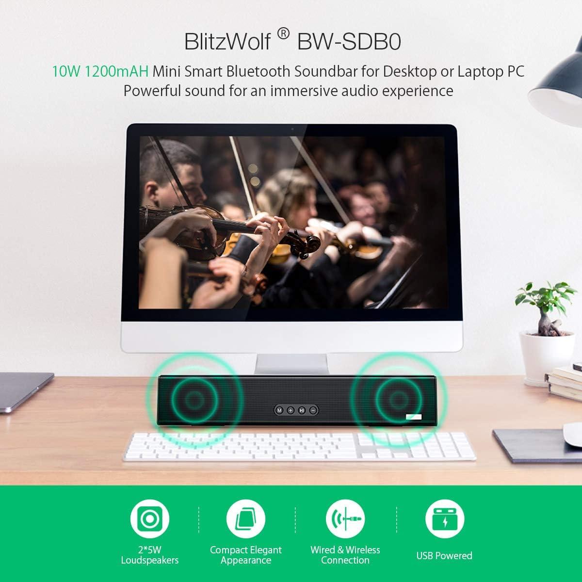 Barra de Sonido, BlitzWolf 37.5cm Altavoz Bluetooth 10W con ...