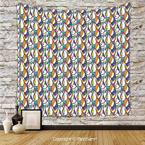 FashSam Tapestry Wall Blanket Wall Decor Cat Design with Various Stances Colorful Abstract Pet Pattern Animal Fun Artwork Decorative Home Decorations for Bedroom(W59xL78) -