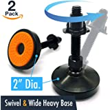 """UNWIREDD Swivel and Height Adjustable Carbon Steel Heavy Duty Leg Leveling Feet Leveler with T-nut - 2"""" Dia. Base, 1000 LB Load Capacity - Best for Workbench, Machinery, Cabinet, DIY Projects (2 Pack)"""