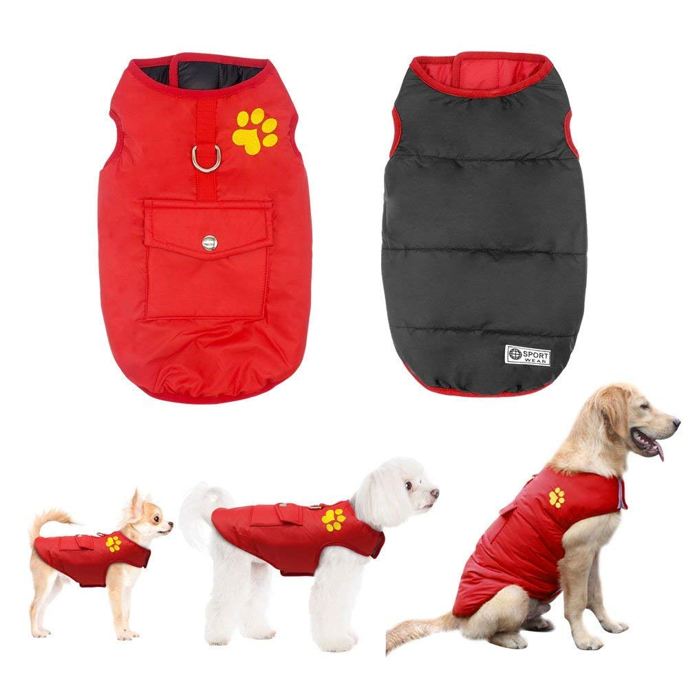 Didog Winter Waterproof Dog Vest Coats Jackets,Warm Reversible Outwear for Small Medium Large Dogs,Red,XL Size
