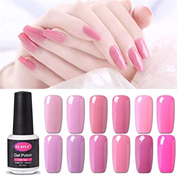341c6feb797 CLAVUZ Gel Nail Polish Set 12PCS Pink Colour Varnish Soak Off UV LED Gel  Nails Kits 8ML