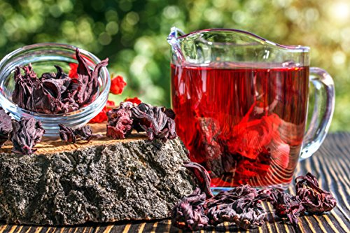 Hibiscus Tea 1LB (16Oz) 100% CERTIFIED Organic Hibiscus Flowers Herbal Tea (WHOLE PETALS), Caffeine Free in 1 lbs. Bulk Resealable Kraft BPA free Bags from U.S. Wellness by U.S. Wellness Naturals (Image #1)