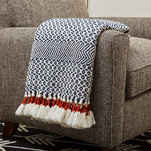 (Rivet Modern Hand-Woven Stripe Fringe Throw Blanket, Soft and Stylish, 50
