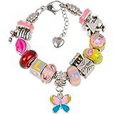 Timeline Treasures 欧洲魅力手链饰物女孩,不锈钢蛇链,粉色返校