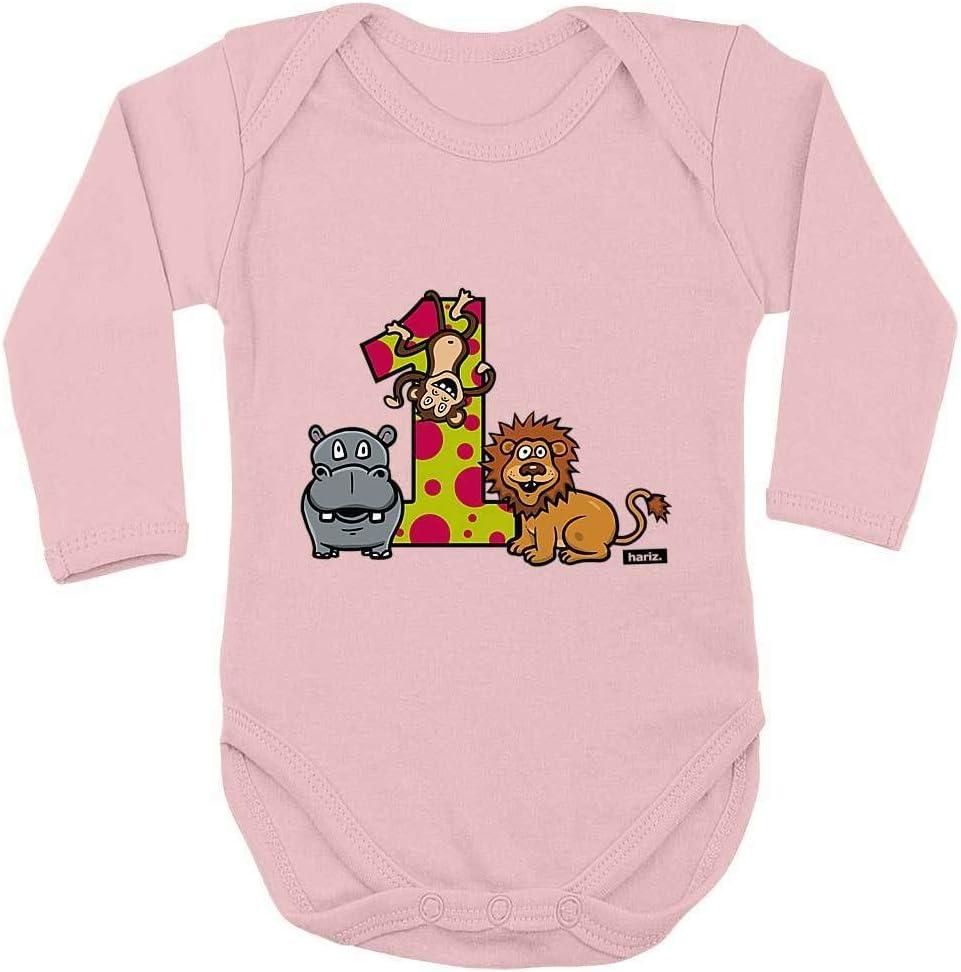 HARIZ Baby Body a maniche lunghe Jungle Leone scimmia 1 compleanno bambini Baby Plus carte regalo pinguino nero 50-56