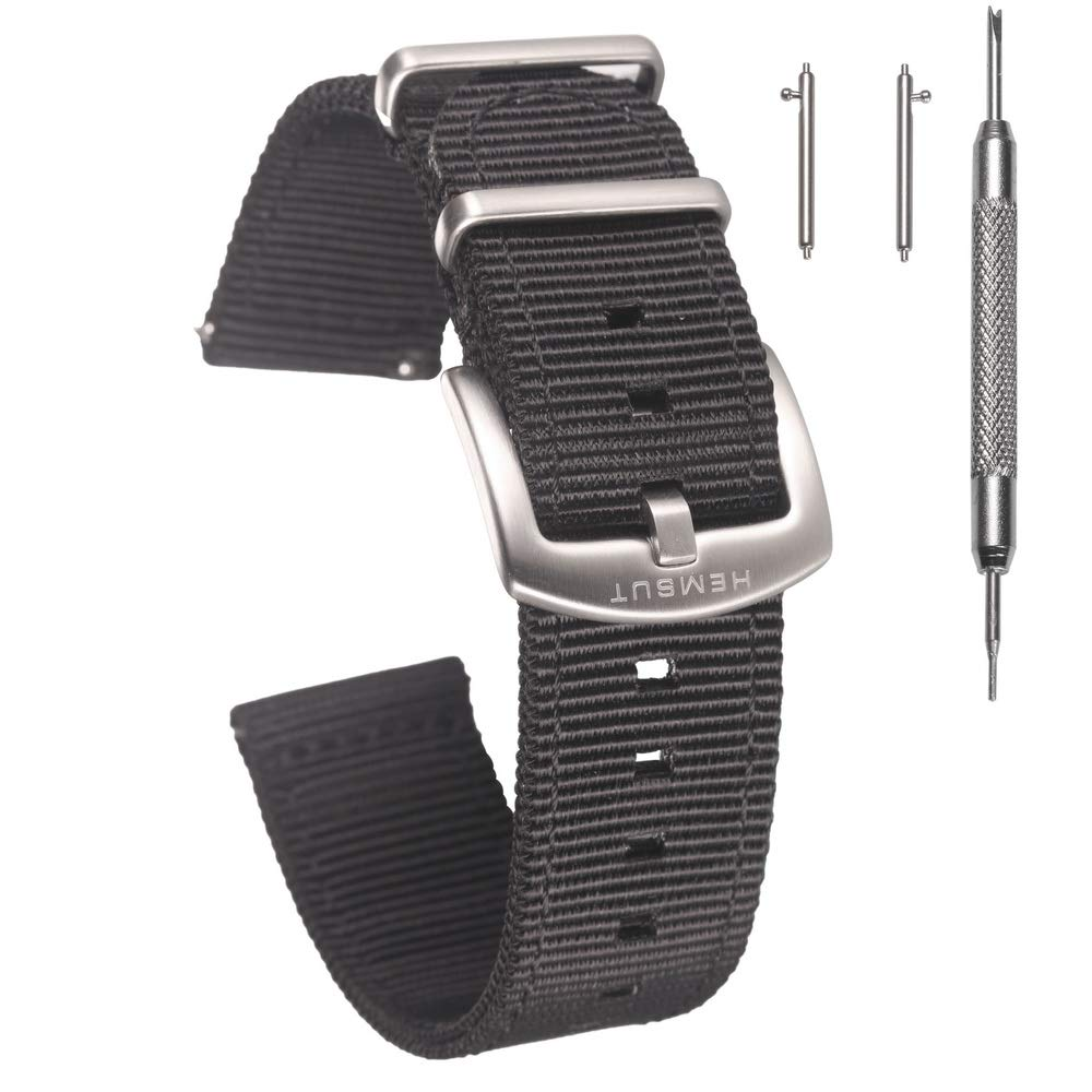 Torbollo Quick Release Watch Black Bands, 18mm Watch Band, Quality Nylon Strap and Heavy Duty Brushed Buckle by torbollo