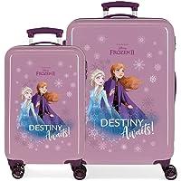 Disney Frozen Destiny awaits Juego de maletas Morado 55/64 cms Rígida ABS Cierre combinación 93L 4 ruedas dobles…