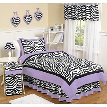 sweet jojo designs 4piece purple funky zebra childrens and kids bedding girls twin set