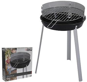 BBQ Barbacoa Barbacoa de carbón redonda metal negro/plata 38 cm