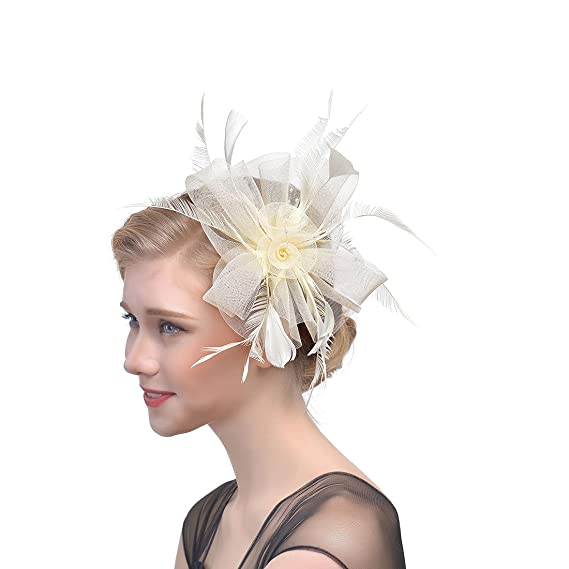 1b8b186815b7a 30th floor Women Chic Fascinator Hat Tea Party Church Headwear Bridal  Headpiece (Beige)