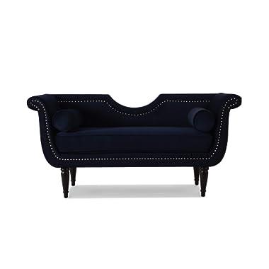 Jennifer Taylor Home Havilland Upholstered Loveseat, Dark Navy Blue