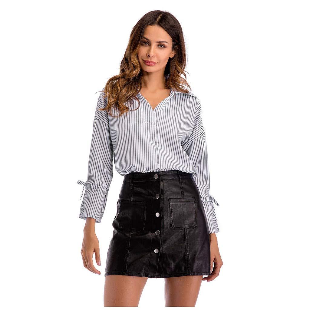 AmyDong Women Casual Striped Shirt Lapel Long Sleeve Deep V-Neck Autumn Winter Work Blouse Tops S-2XL Black by AmyDong Women Blouse