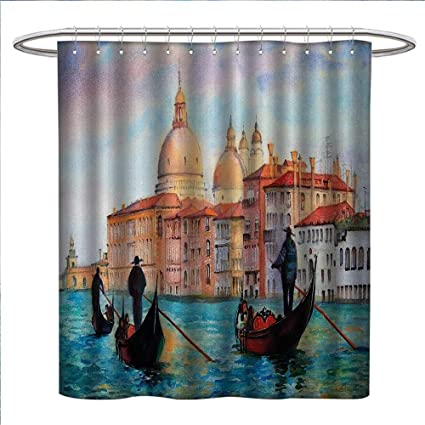 Venice Shower Curtains Fabric Watercolor Painting Of Serene Cityscape Antique Gondolas Scenic Bathroom Set