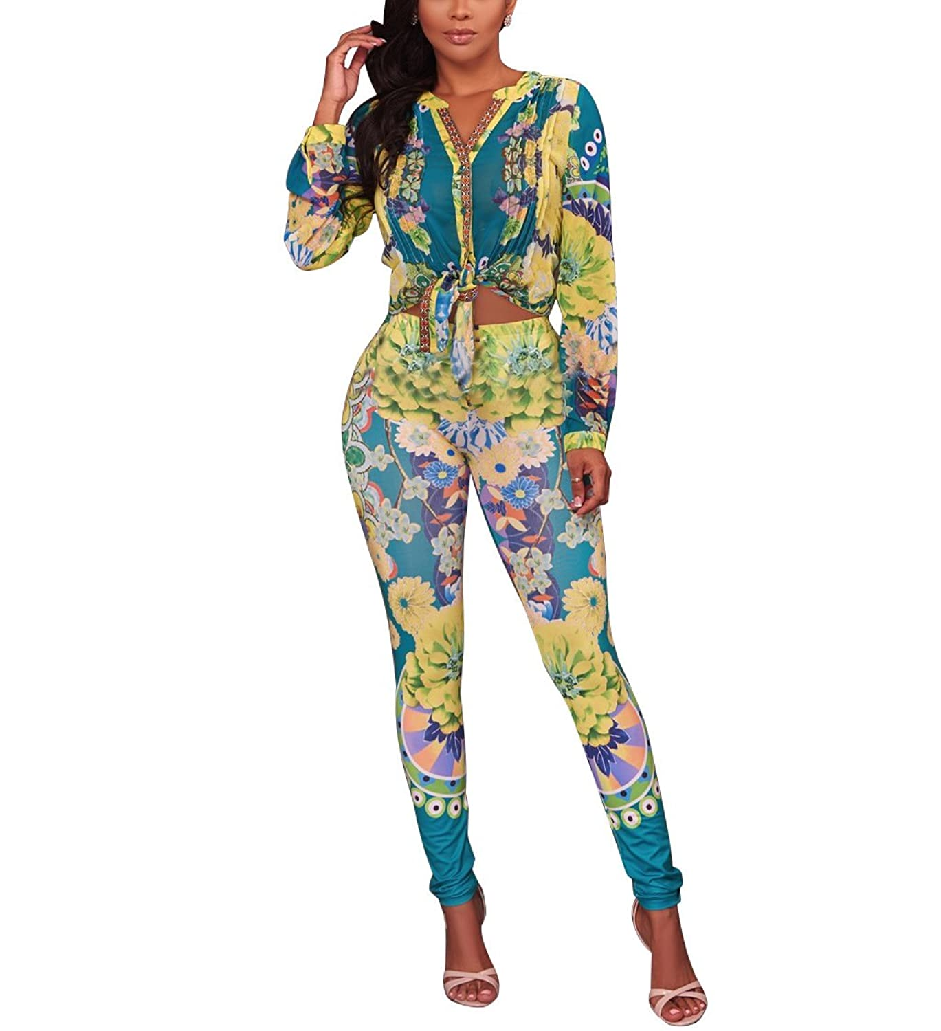 f3bc5e20c22 Wancy Womens 2 Piece Outfits Floral Print Long Sleeve V Neck Tops + Long  Pants Bodycon Jumpsuits Set