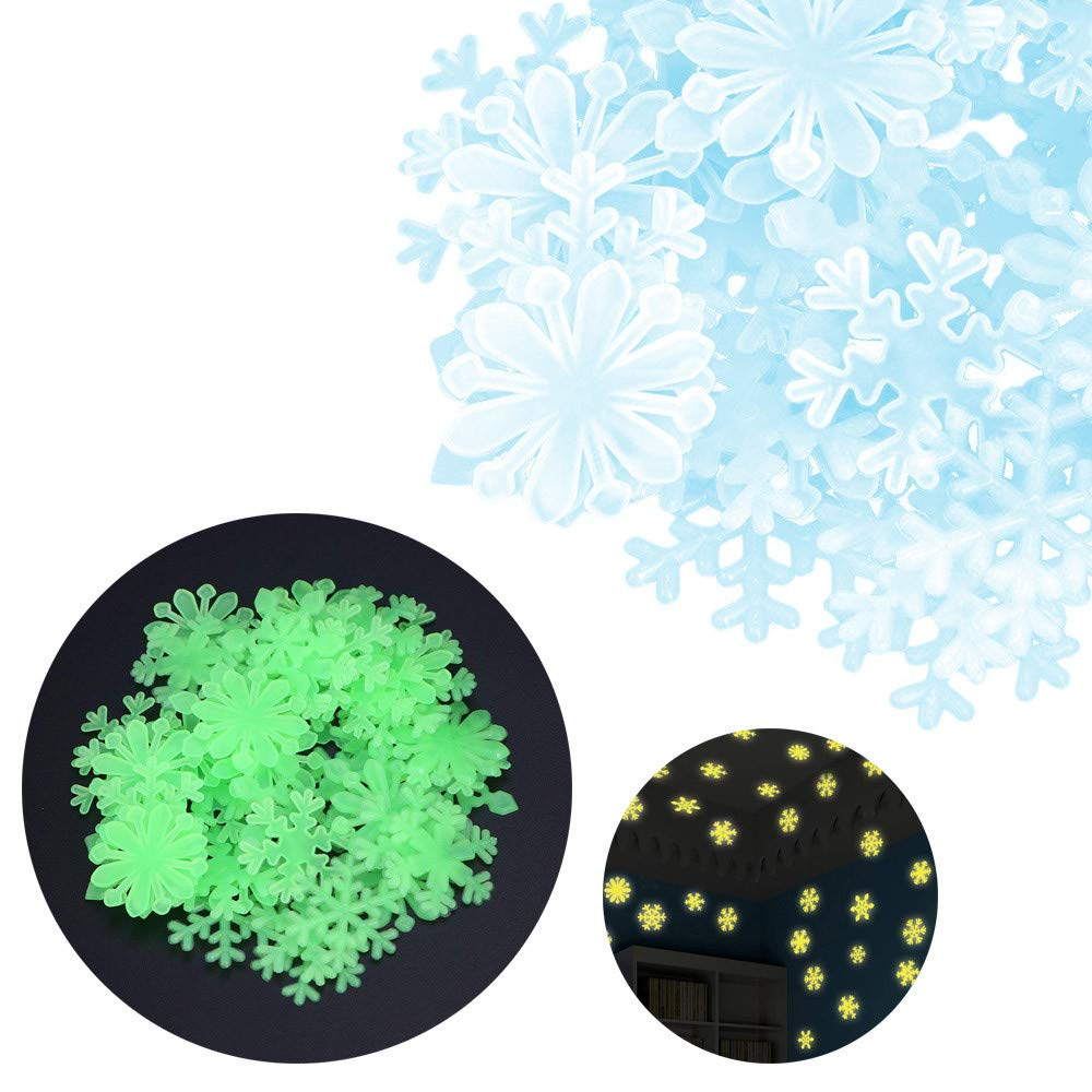 SUKEQ 50PC Luminous Glow in The Dark Snowflake Wall Stickers for Kids Bedroom, Christmas Snowflake Window Clings Decorations Winter Wonderland Xmas Party Stickers Decal Ornaments (Blue)