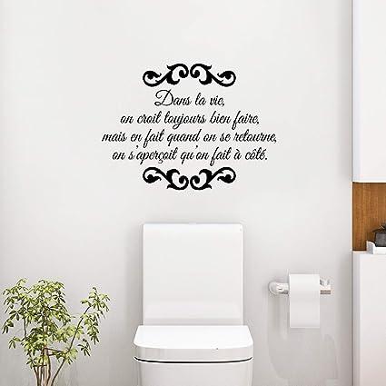 Autocollant Mural Toilettes Autocollant Vinyle Art Déco ...