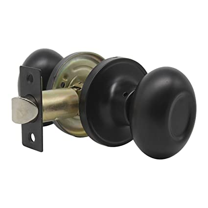 Black Solid Steel Antique Style Knob Passage Door Handle Set Durable Door  Hardware, Oval Shape - Black Solid Steel Antique Style Knob Passage Door Handle Set Durable