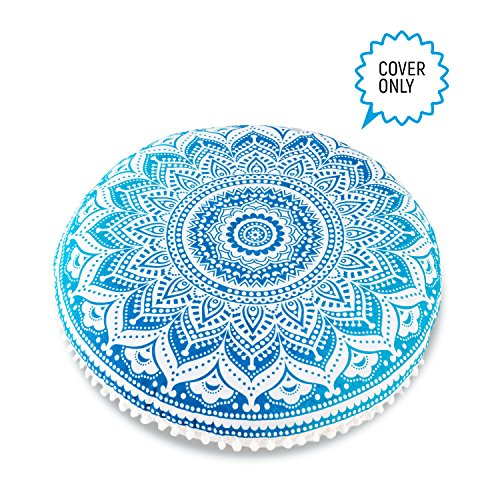 Bohemian Ombre Indian Mandala Pouf - Floor Cushion Cover - 30 inches by Mandala Life ART ( Blue , Cover Only ) (Floor For Sale Cushions)