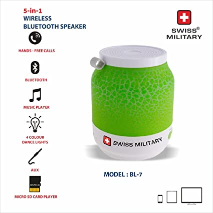 428adc2798c Swiss Military BL-7 5-in-1 Wireless Bluetooth Speaker (Green) Price: Buy Swiss  Military BL-7 5-in-1 Wireless Bluetooth Speaker (Green) Online in India ...