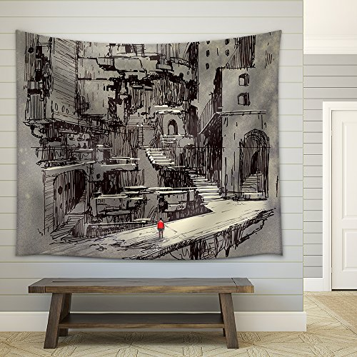 (wall26 - Illustration - sci-fi Cityscape,Illustration Painting - Fabric Wall Tapestry Home Decor - 68x80 inches)