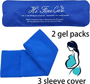 Reusable Perineal Cooling Pad for Postpartum & Hemorrhoid Pain Relief, Hot & Cold Packs for Women After Pregnancy and Delivery, Pack of 2 Gel Pads Plus 3 Washable Sleeves (Blue)