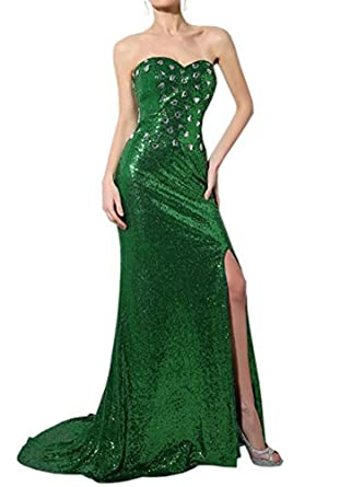 PROMLINK Sweetheart Beaded Prom Dress Side Slit Sequin Evening Gown Long
