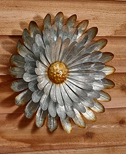 Galvanized Flower - The Lakeside Collection Extra Large Metal Wall Flower - Aster