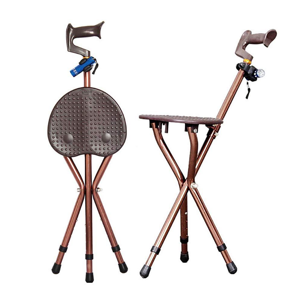 2019人気特価 松葉杖調節可能な折りたたみ歩行杖椅子スツールマッサージ杖ポータブル釣り休憩スツール付きledライト付き高齢者用   B07NRZDQS5, フィットネス&サプリメントのMW:bb3100ba --- a0267596.xsph.ru