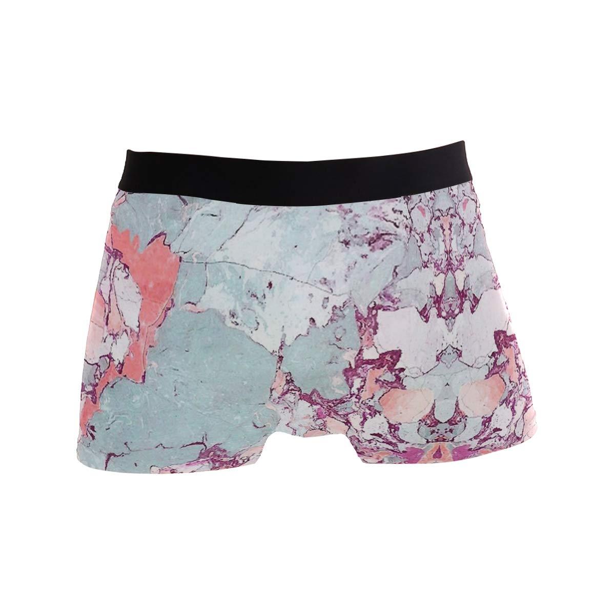 Mens Soft Breathable Marble Art Floral Underwear Boxer Briefs