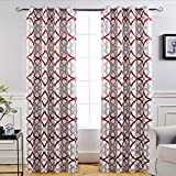 DriftAway Alexander Thermal Blackout Grommet Unlined Window Curtains, Spiral Geo Trellis Pattern, Set of Two Panels, Each Size 52″x96″ (Red/Gray) For Sale