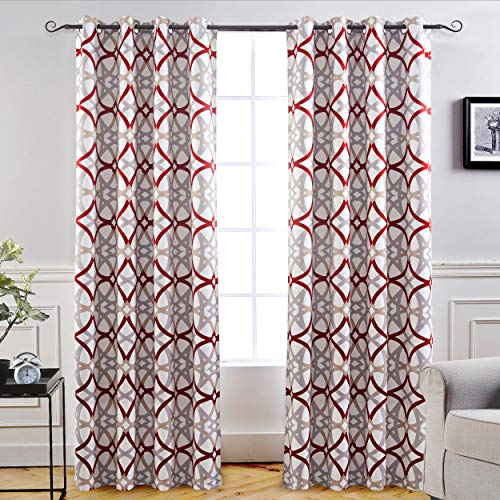DriftAway Alexander Thermal Blackout Grommet Unlined Window Curtains Spiral Geo Trellis Pattern Set of 2 Panels Each Size 52 Inch by 96 Inch Red and Gray (Modern Window Panels)