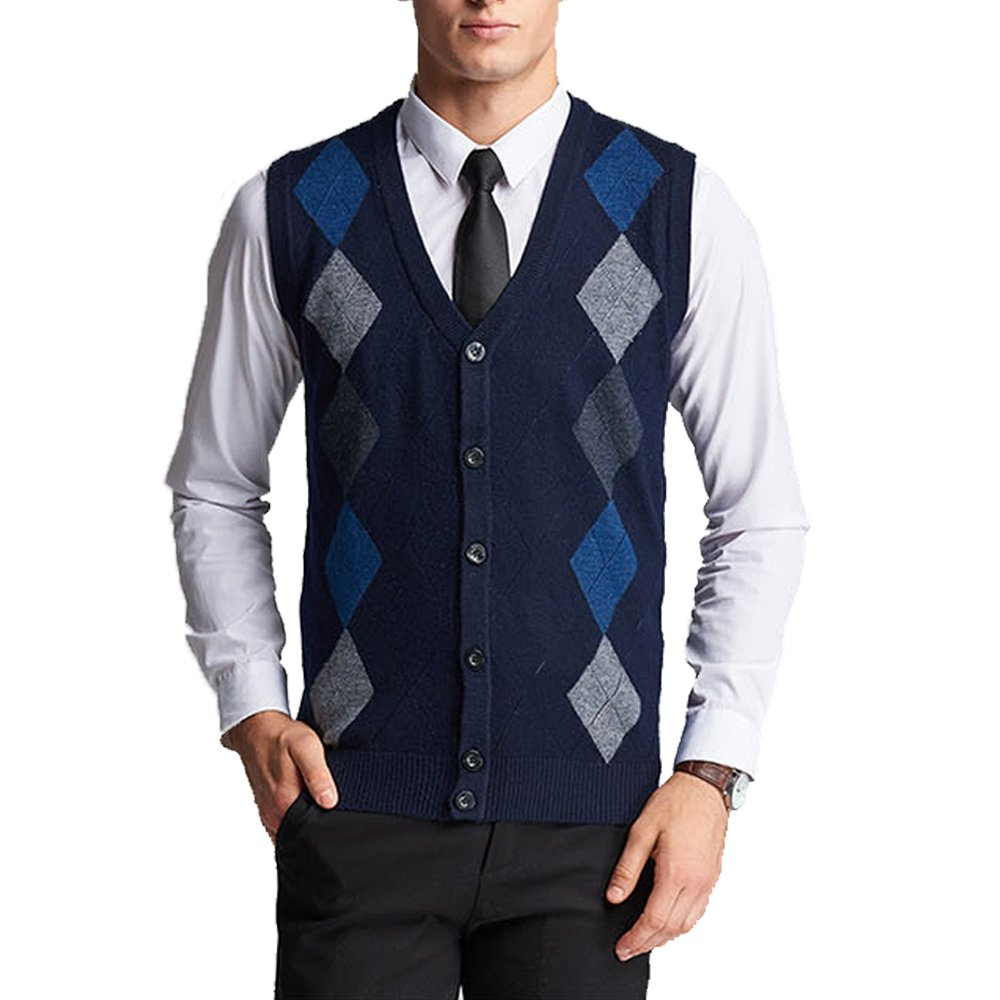 MAGE MALE Men's Sweaters Vest Casual Business Slim Fit V Neck Knit Button-Front Sleeveless Vest Zk15-Navy Large