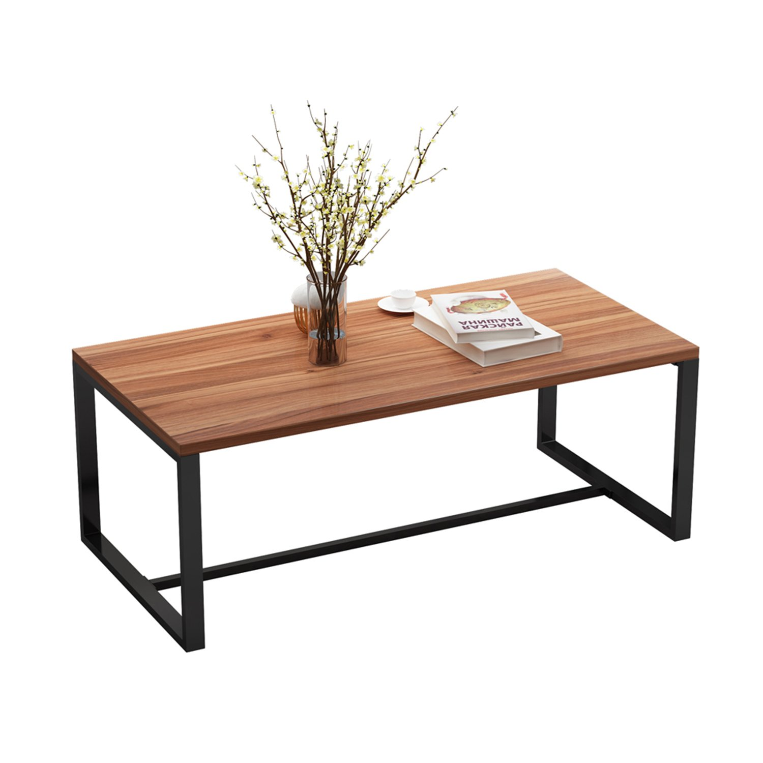 Decho Vintage Coffee Table, Cocktail Table for Living Room, Home Office Furniture with Metal Frame, OAK BROWN+ Black Leg