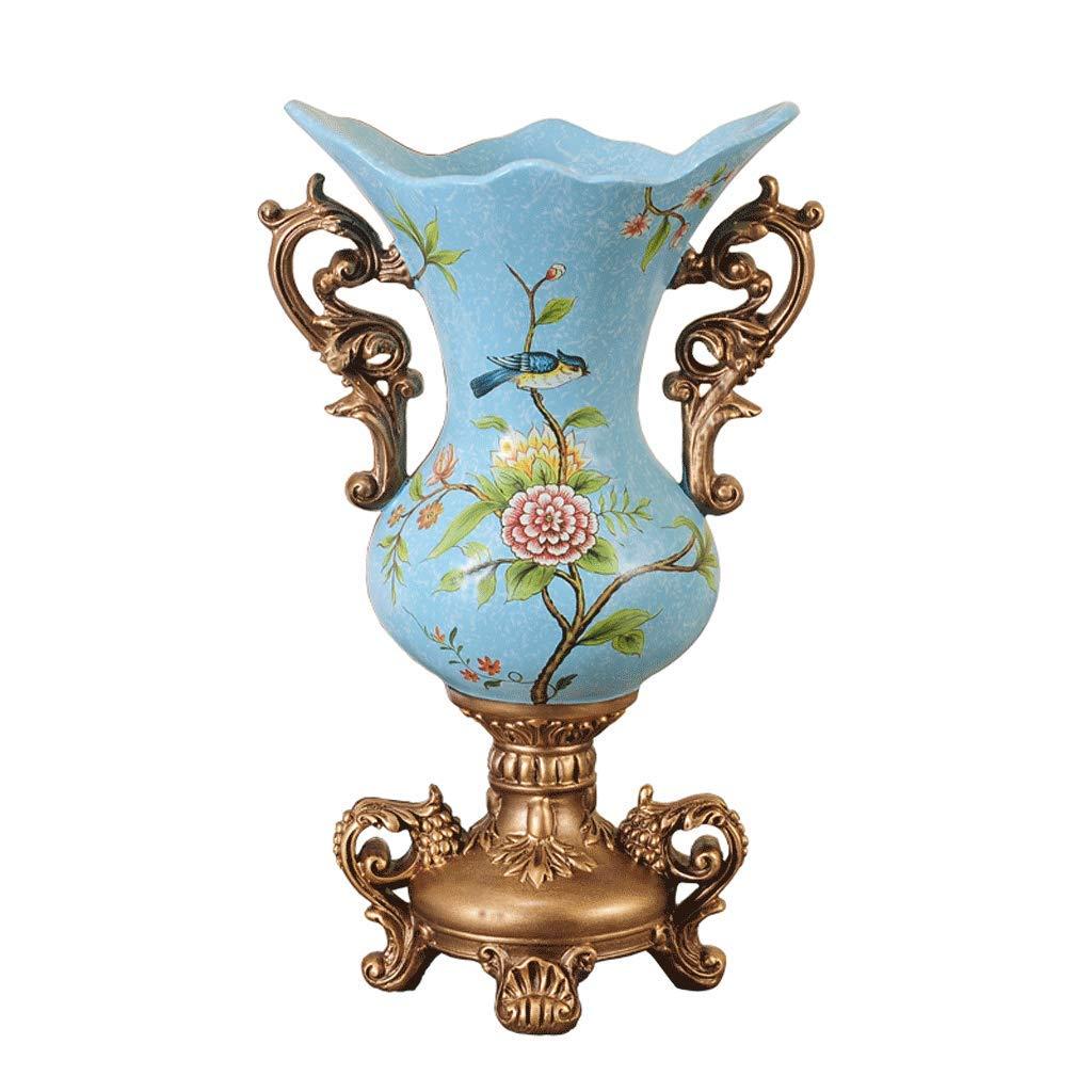 樹脂大型花瓶フラワーアレンジメントリビングルーム高級ホームアクセサリーテーブル花瓶装飾ウェディングギフト LCSHAN (Color : Ceramic-Blue, Size : 42cm*17cm) B07T4MPHL4 Ceramic-Blue 42cm*17cm