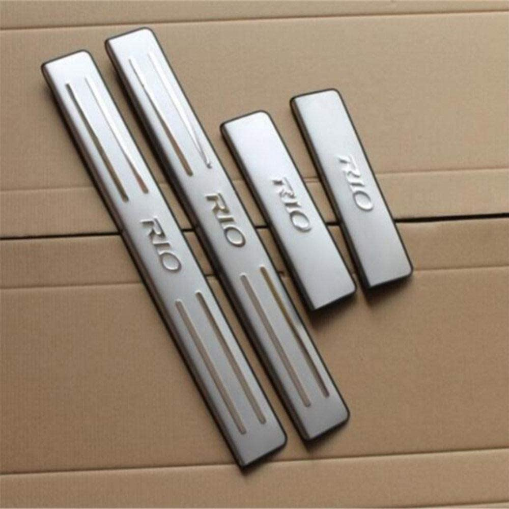 For Kia Rio 2002-2013 Door Sill Pedal Protectors CCIG 4Pcs Stainless Steel Door Sill Door Sill Trims Moldings Protection Stickers Protective Cover Threshold Cover