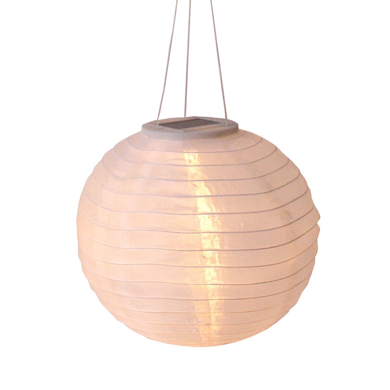 Candy 12'' White Oriental Style Solar Nylon Rechargable Outdoor Decorative Lantern with 3 LED's