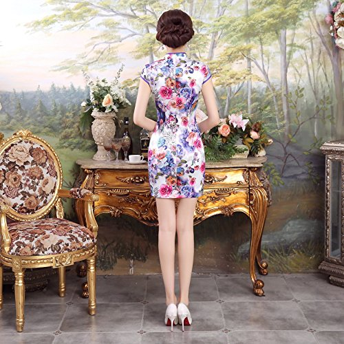 Acvip Robe Classique Cheongsam Style Femme Chinoise Courte Qipao Violet 4Opw4Pqxf